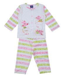 Lilliput Kids Full Sleeves Vest And Pajama - Pink Green