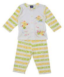 Lilliput Kids Full Sleeves Vest And Pajama - Yellow Green