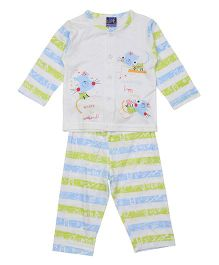 Lilliput Kids Full Sleeves Vest And Pajama - Blue Green