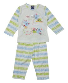 Lilliput Kids Full Sleeves T-Shirt And Pajama - Blue Green