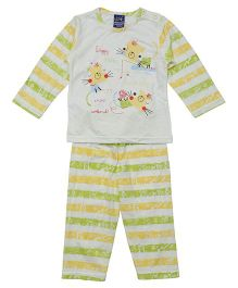 Lilliput Kids Full Sleeves T-Shirt And Pajama - Yellow Green