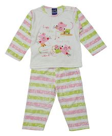 Lilliput Kids Full Sleeves T-Shirt And Pajama - Pink Green
