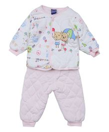 Lilliput Kids Full Sleeves Night Suit Bunny Print - Pink White