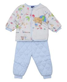 Lilliput Kids Full Sleeves Night Suit Bunny Print - Blue White
