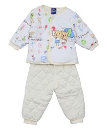 Lilliput Kids Full Sleeves Shirt And Pant Bunny Print - Yellow White