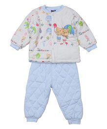 Lilliput Kids Full Sleeves Top And Pant Set Bunny Print - Blue