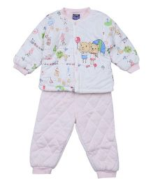 Lilliput Kids Full Sleeves Top And Pant Set Bunny Print - Light Pink