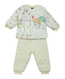 Lilliput Kids Full Sleeves Top And Pant Set Bunny Print - Yellow