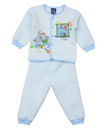 Lilliput Kids Kitty Print Top And Pajama - Blue White