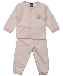 Lilliput Kids Full Sleeves Night Suit Dancing Sparrow Patch - Pink