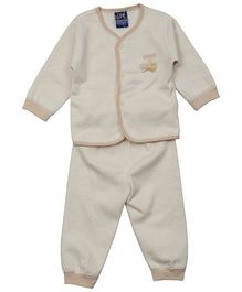Lilliput Kids Full Sleeves Night Suit Dancing Sparrow Patch - Beige