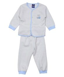 Lilliput Kids Full Sleeves Night Suit Dancing Sparrow Patch - White Blue