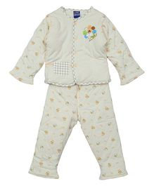 Lilliput Kids Full Sleeves Night Suit - Yellow Beige