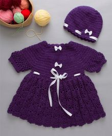 The Original Knit Dress Set With Cap - Purple