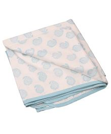 Mom's Home Organic Cotton Dohar Cum Swaddle Leaf Design - Blue