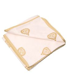 Mom's Home Organic Cotton Dohar Cum Swaddle Leaf Design - White Golden