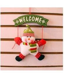 Snowman Door Hanging Welcome Sign - White Red Green