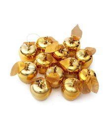 Bling It On Apple Christmas Tree Decoration Pendants Golden - Pack Of 12
