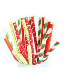 Christmas Paper Straws Multicolor - Pack Of 25