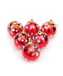 Bling It On Snowflake Christmas Tree Ornament Balls Red - Pack Of 6