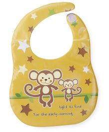 Abracadabra Monkey Printed Vinyl Bibs -  Orange Yellow Brown