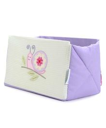 Abracadabra Snail Embroidered Cot Utiity Box - Purple Green