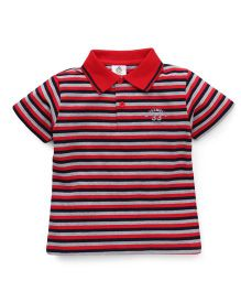 Water Melon Striped Polo Neck T-Shirt - Red & Navy