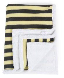 Abracadabra Reversible Luxury Blanket Stripes Print - White Yellow & Black