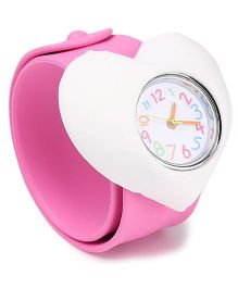 Analog Wrist Watch Heart Shape Dial - Pink White