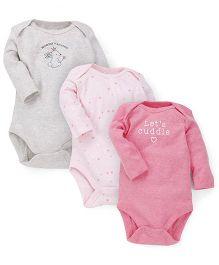 Fox Baby Full Sleeves Printed Onesies Set Of 3 - Pink Grey