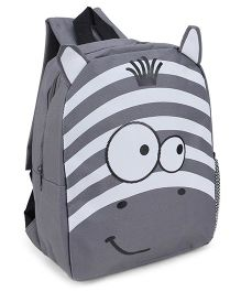 Fox Baby School Bag Animal Face Print Grey - 11 Inches