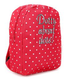 Fox Baby Dotted School Bag Slogan Print Red - 11 Inches