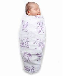 Kaarpas Premium Organic Cotton Muslin Large Swaddle Elephant