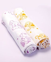 Kaarpas Premium Organic Cotton Muslin Large Swaddles Pack Of 2 Monkey and Elephant