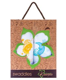 Kaarpas Premium Organic Cotton Muslin Medium Swaddles Pack Of 2 Sun & Moon