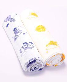 Kaarpas Premium Organic Cotton Muslin Medium Swaddles Pack Of 2 Sun & Parachute