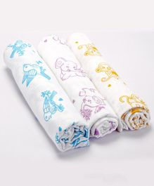 Premium Organic Cotton Muslin Swaddle Adorable Animals Monkey Elephant Sparrow Pack Of 3 - Large
