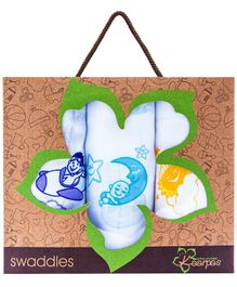 Kaarpas Premium Organic Cotton Muslin Large Swaddles Pack Of 3 Up In the Sky