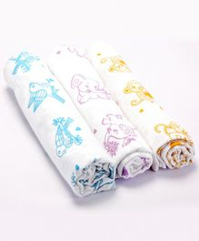 Premium Organic Cotton Muslin Swaddle Adorable Animals Monkey Elephant Sparrow Pack Of 3 - Medium