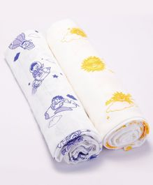 Premium Organic Cotton Muslin Swaddle Up In The Sky Sun and Parachute Pack Of 2 - Large