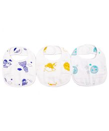 Premium Organic Cotton Muslin Large Bib Pack of 3 Up In The Sky