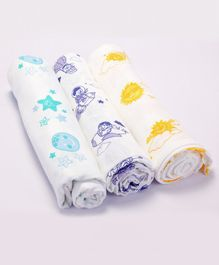 Premium Organic Cotton Muslin Swaddle Up In The Sky Sun Moon Parachute Pack Of 3 - Medium