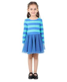 My Lil Berry Long Sleeves Drop Waist Knit And Mesh Flared Dress - Blue & Green