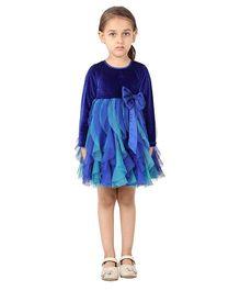 My Lil Berry High Waist Big Bow Cascade Dress - Blue & Green