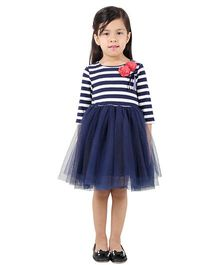 My Lil Berry Long Sleeves Knit And Mesh Flare Dress With Corsage - Navy Blue