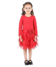 My Lil Berry Long Sleeves Drop Waist Leaf Tutu Dress - Red