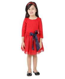 My Lil Berry Three Fourth Sleeves Top And Skirt with Bow Applique - Red