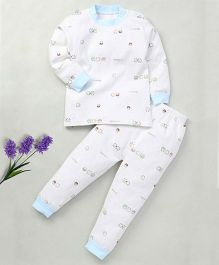 Superfie Printed Cotton Pajama For Kids - White & Blue