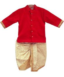 Swini's Baby Wardrobe Kurta & Dhoti - Red & Cream