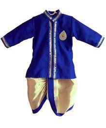 Swini's Baby Wardrobe Kurta & Dhoti - Blue & Silver
